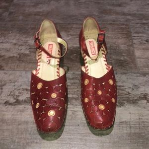 """Pikolinos Red Leather Floral Ankle Strap 2"""" Heels"""